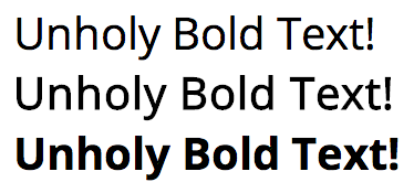 Myriad Pro regular, faux bold and genuine bold text comparison